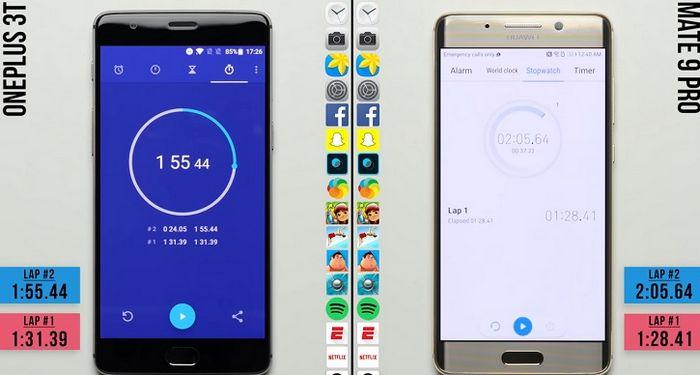 Oneplus 3t сразился с huawei mate 9 pro в тестах скорости (видео)