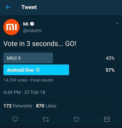 Xiaomi не понравились результаты опроса, в котором android обошёл miui